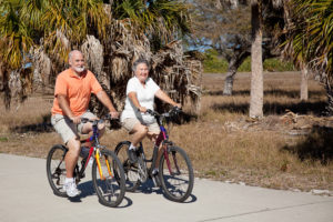 couple bicycling