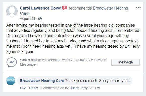 Broadwater Hearing Care testimonial